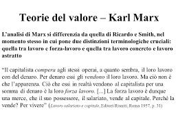 La teoria del valore-lavoro di Marx