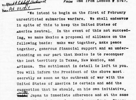 """WWI: Il """"Telegramma Zimmermann"""""""